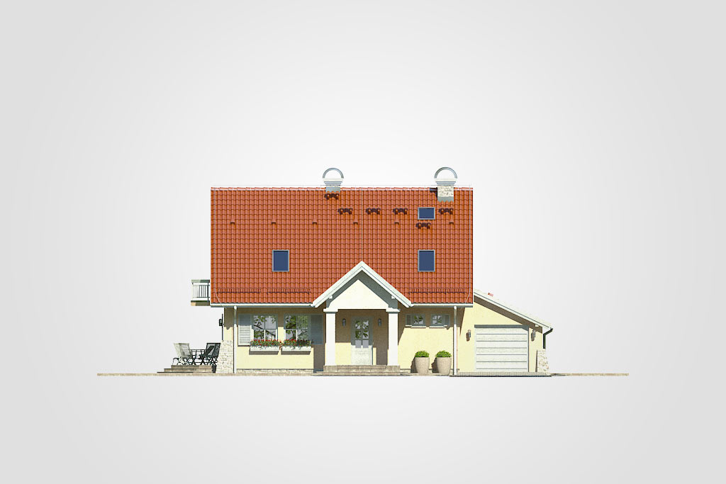 Elewacja domu S-GL 363 Fiołkowa Chata