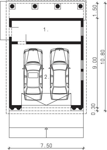 Rzut garażu S-Z 11