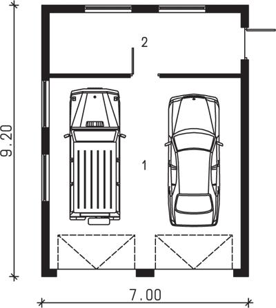 Rzut garażu S-Z 37