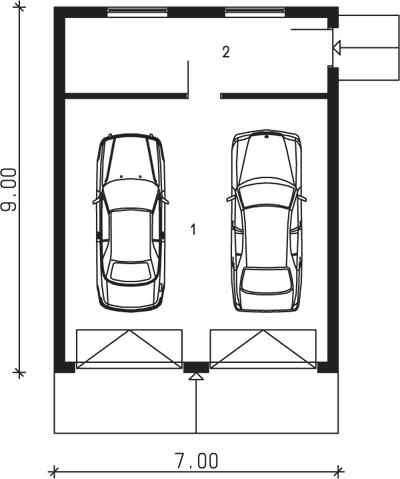 Rzut garażu S-Z 38